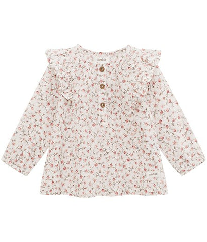 Baby floral blouse with buttons and frills