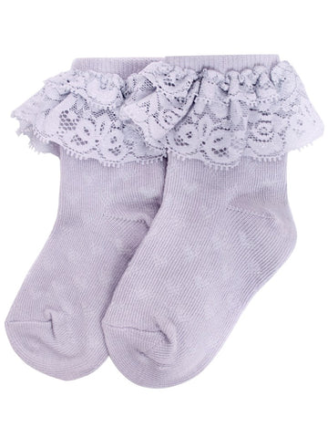 Socks with lace frills