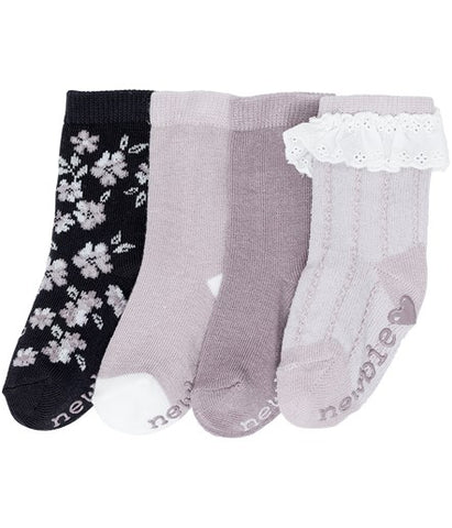 Baby socks with floral pattern