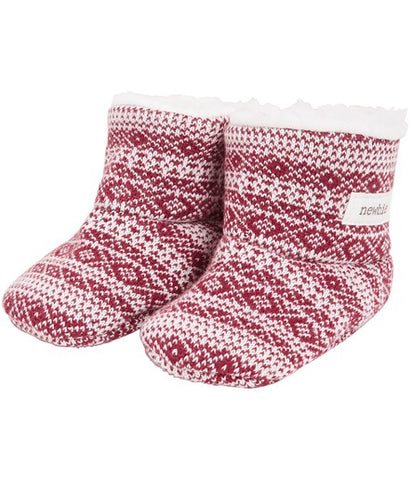 Baby booties in fairisle knit