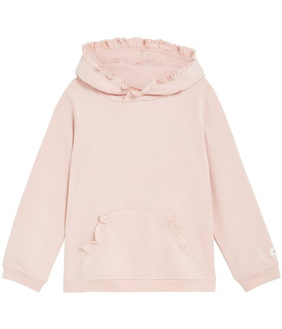 Hooded top with frills