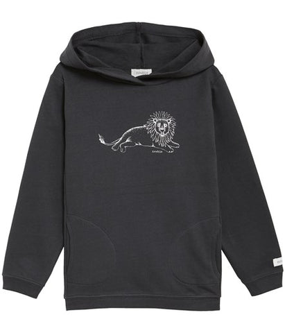 Hooded top with lion print