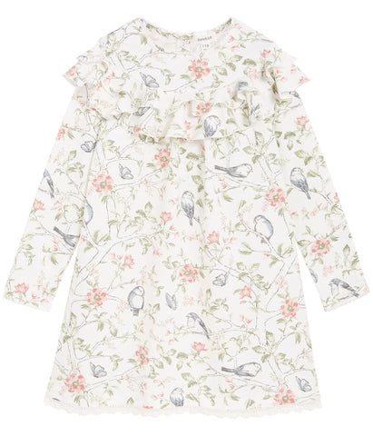 Dress with bird cage floral print