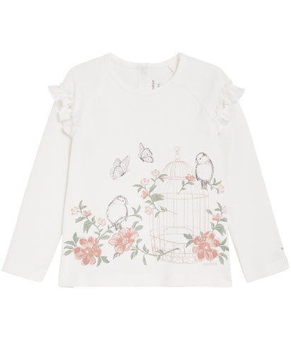 Top with bird cage print and frills