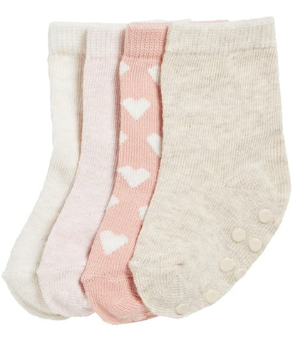4 pack baby socks in pink