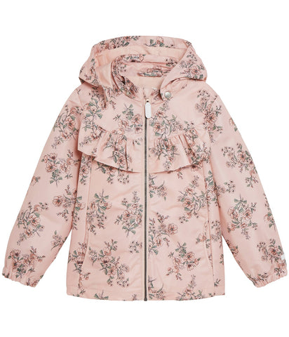Water repellent floral hooded jacket