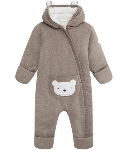 Baby snowsuit with bear pocket