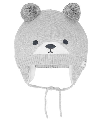 Bear baby hat with tie straps
