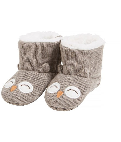 Baby booties with owl face