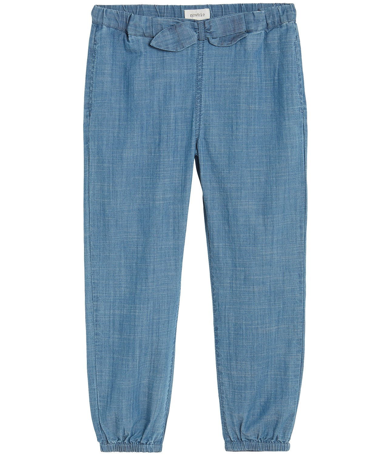Denim trousers with bow
