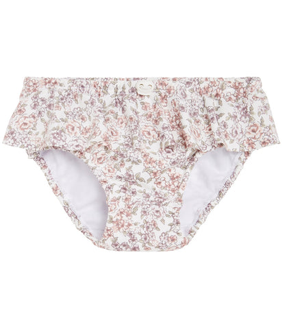 Swim briefs with floral print in pink