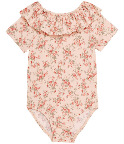 Girls pink floral frill swimsuit