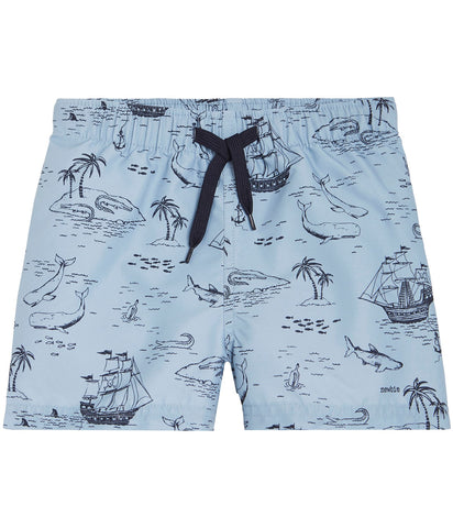 Swim shorts with sailboat print