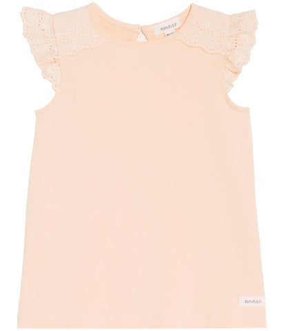 Top with lace frills at shoulders