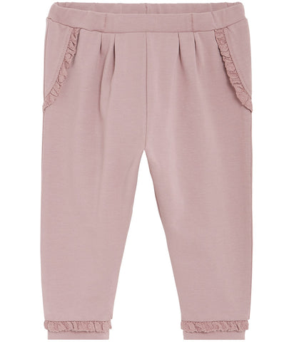 Baby sweatpants with lace trims