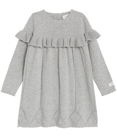 Knitted dress with frills