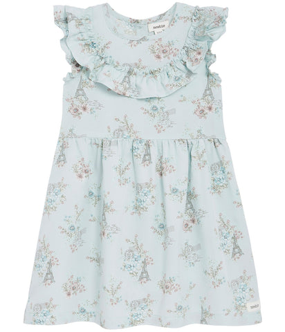 Floral dress with ruffle trims