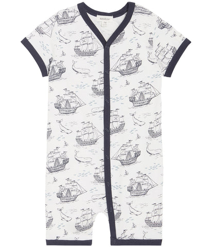 Baby shortie with sailboat print