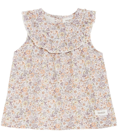 Baby blouse with orange floral print