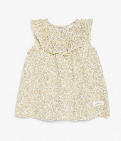 Baby top with floral print and ruffles