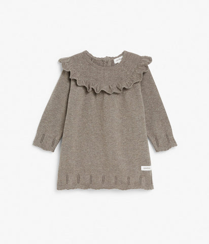 Baby knitted dress with ruffle frills