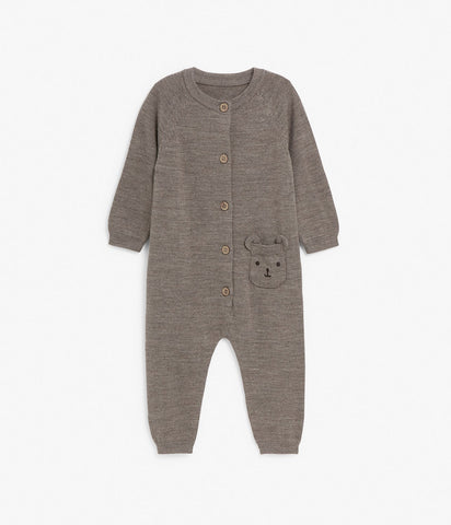 Baby knitted wool onesie with bear face