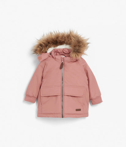 Baby hooded faux fur jacket