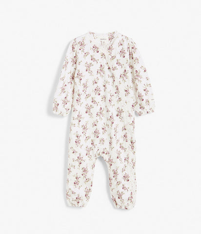 Floral pattern sleepsuit with lace trims