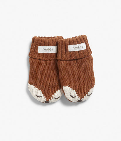 Baby knitted fox mittens