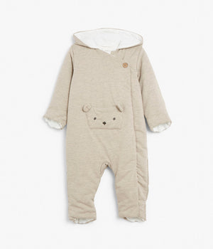 Baby soft onesie with bear pocket
