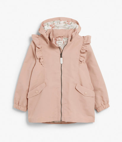Kids water-repellent jacket with ruffles