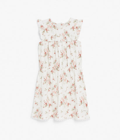 Floral sleeveless dress with ruffles