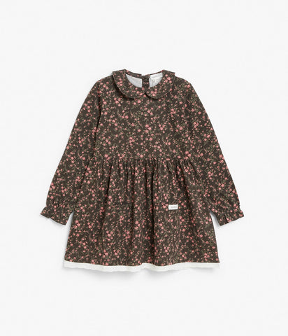 Brown floral print dress