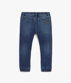 Denim trousers with contrast waistband