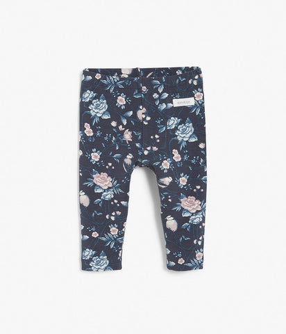 Baby leggings with blue floral print