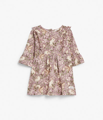 Baby dress with floral rabbit print
