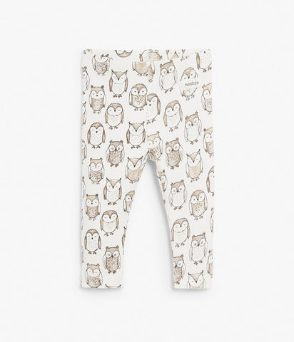 Baby leggings with owl print