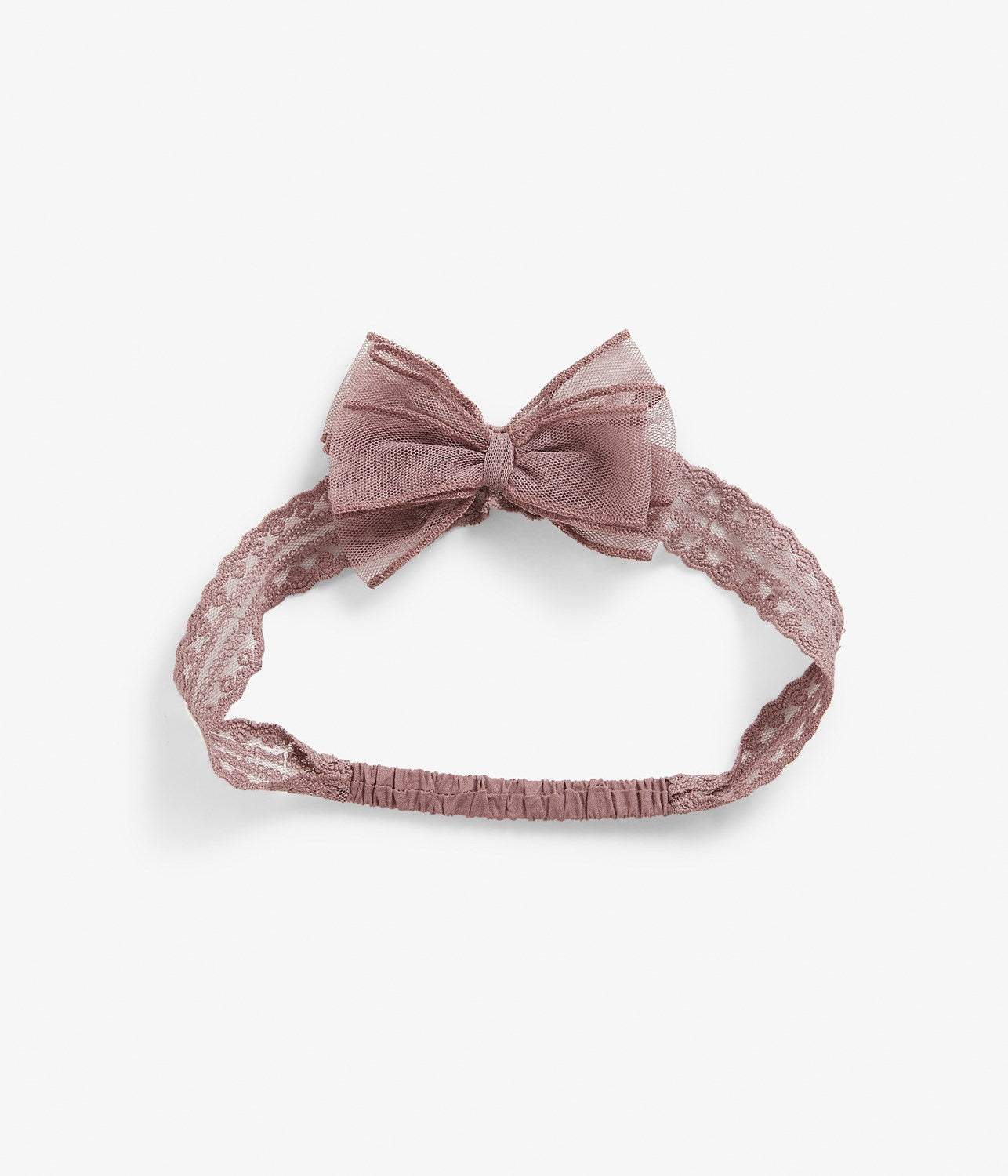 Pink lace headband with bow