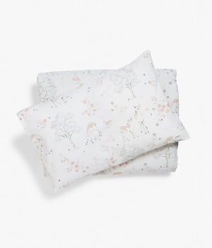 Kids white deer & forest print bedding set