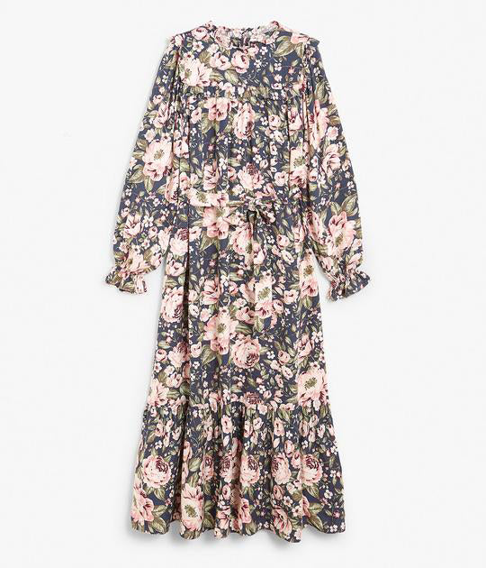 Womens navy & pink floral maxi dress with ruffles