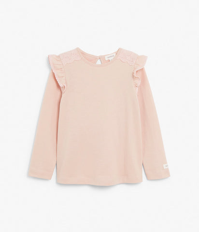 Kids long sleeve top with ruffles