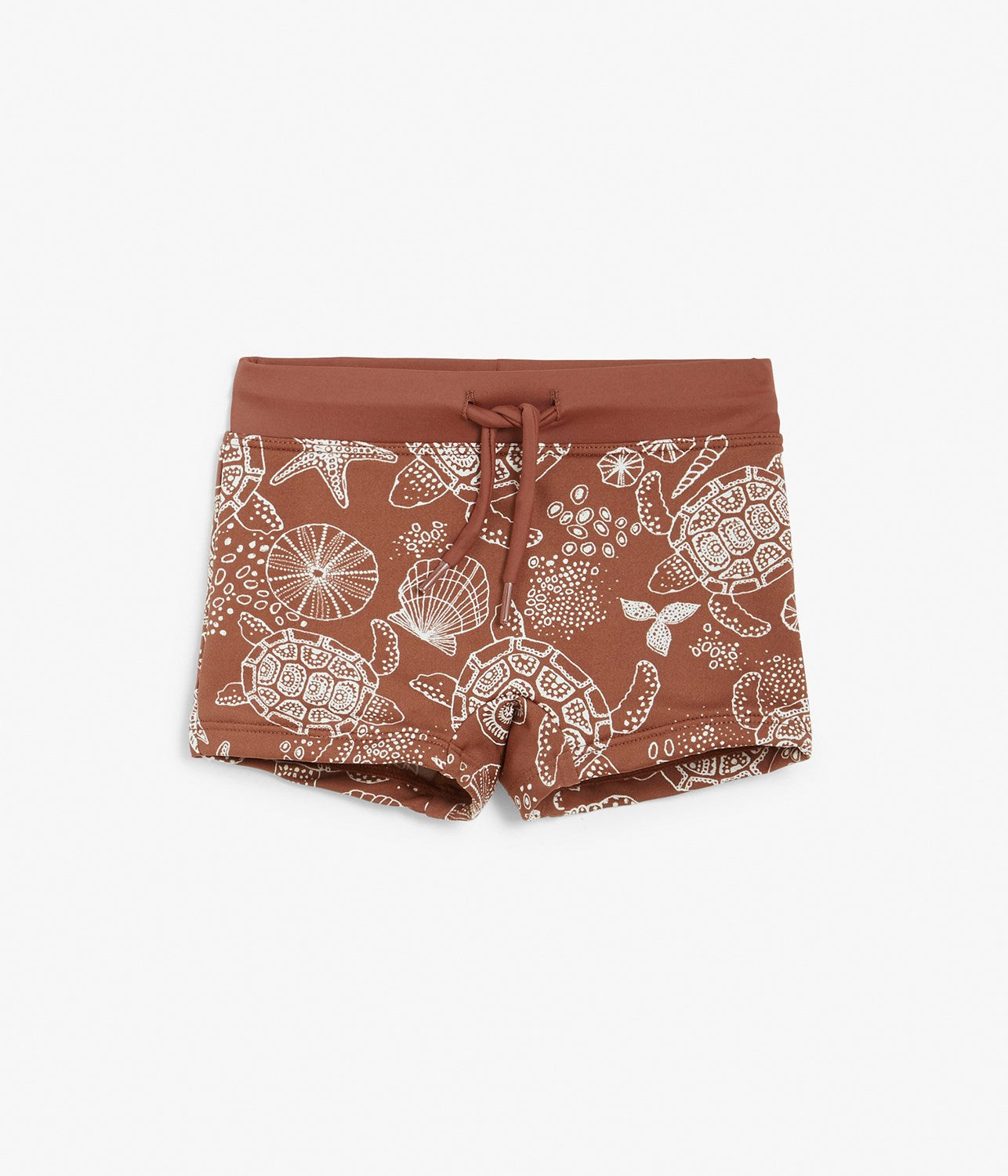 Baby red turtle and shell printed swim trunks