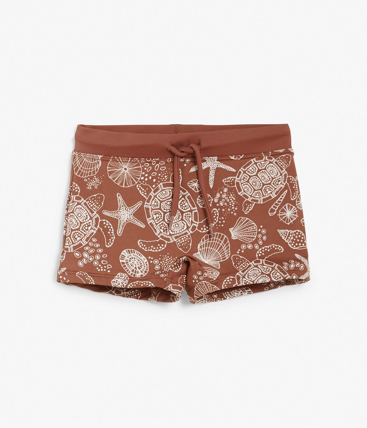 Kids red turtle and shell printed swim trunks