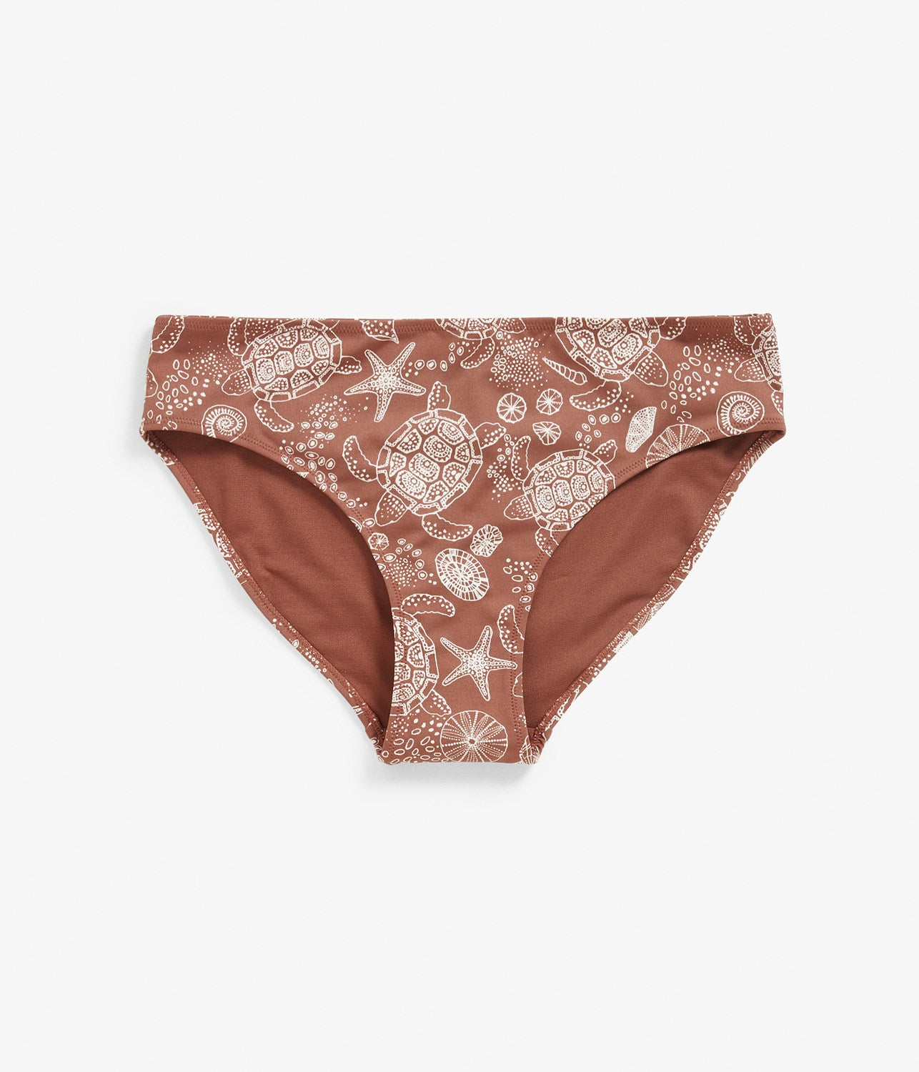 Womens red turtle and seashell printed bikini bottoms