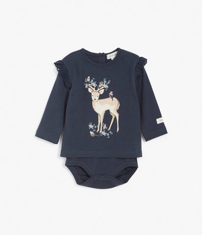 Body with deer patch and ruffles