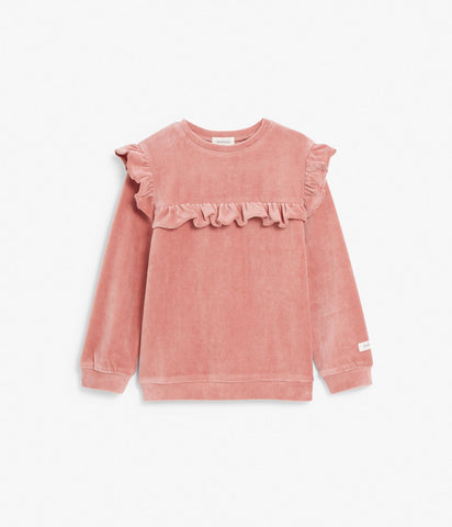 Top in velour with ruffles