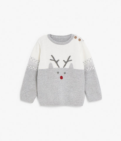Baby jumper with rudolph pattern