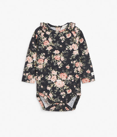 Body in black floral pattern