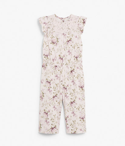 Kids floral print jumpsuit with lace