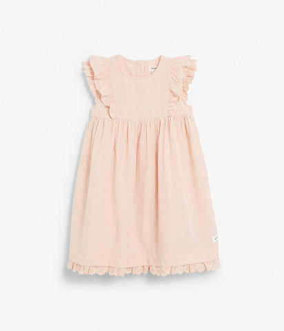 Kids broderie anglaise dress with ruffles